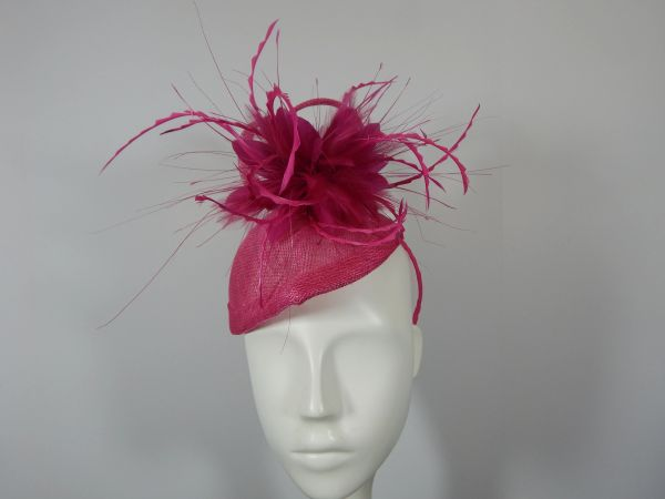 Fuchsia Percher Hat in Sinamay for Kentucky Derby  5dd52490637