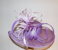 Lavender Sinamay Hat with Loops and Feathers