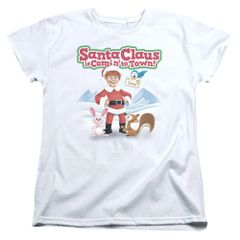 Christmas Santa Claus is Coming to Town Animal Friends Womens T-shirt