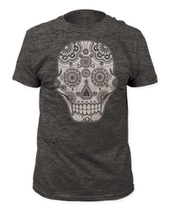Sugar Skull Heather Charcoal Short Sleeve Adult T-shirt