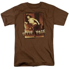 Bettie Page Over Exposed Coffee Short Sleeve Adult T-shirt