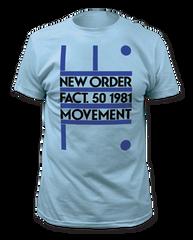 New Order Fact.50 1981 Movement Light Blue Short Sleeve Adult T-shirt