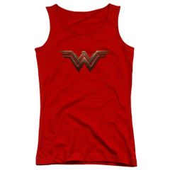Wonder Woman Logo Red Cotton Juniors Tank Top T-shirt