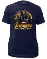 The Avengers Infinity Wars Captain America Group Navy Short Sleeve Adult T-shirt