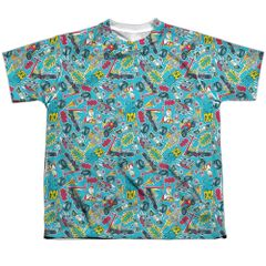 Teen Titans Go Pattern White Short Sleeve Youth T-shirt