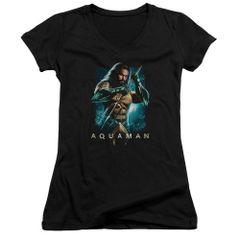 Aquaman Trident Black Short Sleeve Junior V-Neck T-shirt