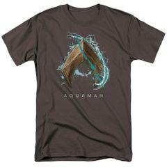 Aquaman Water Shield Charcoal Short Sleeve Adult T-shirt