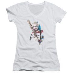 Suicide Squad Bat at You White Junior V-Neck T-shirt