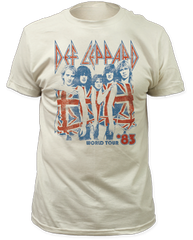 Def Leppard 83 World Tour White Cotton Short Sleeve Adult T-shirt