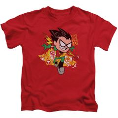 Teen Titans Go Robin Red Short Sleeve Juvenile T-shirt
