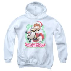 Christmas Santa Claus is Coming to Town Penguin Youth Pull-Over Hoodie