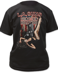 LA Guns F****N Hollywood Black Short Sleeve Adult T-shirt