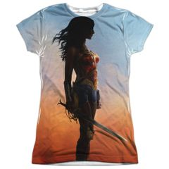 Wonder Woman Poster White Polyester Front and Back Print Short Sleeve Junior T-shirt