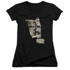 Bettie Page Newspaper and Lace Black Short Sleeve V-Neck Junior T-shirt