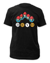 Devo Whip it Heads Black Short Sleeve Adult T-shirt
