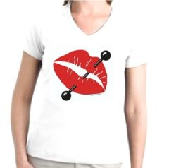 Femme Fatale Pierced Lips V-Neck Womens T-shirt