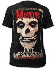 The Misfits Hate Breeders Black Sublimation Print Short Sleeve Adult T-shirt