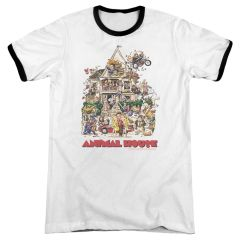 Animal House Poster White Black Adult Ringer T-shirt