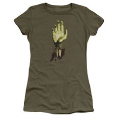 Zombie Need A Hand Military Green Short Sleeve Junior T-shirt