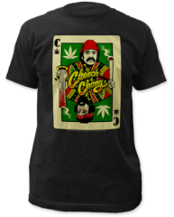 Cheech and Chong Playing Card Black Cotton Short Sleeve Adult T-shirt