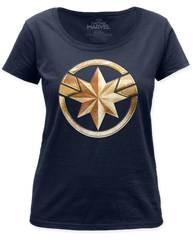 Captain Marvel Badge Navy Short Sleeve Womens T-shirt