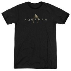 Aquaman Logo Black Short Sleeve Adult Ringer T-shirt