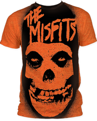 The Misfits Stencil Heather Orange Sublimation Print Short Sleeve Adult T-shirt