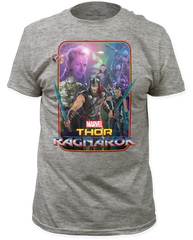 Thor Ragnarok Group Heather Grey Short Sleeve Adult T-shirt