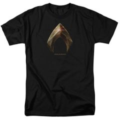 Justice League Aquaman Logo Black Short Sleeve Adult T-shirt