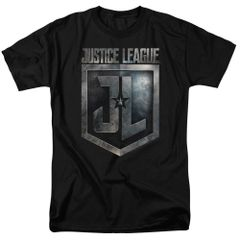 Justice League Shield Logo Black Short Sleeve Adult T-shirt