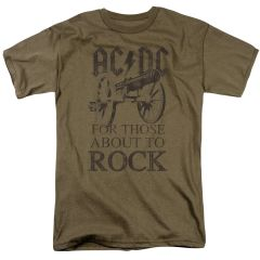 AC/DC For Those About To Rock Safari Green Short Sleeve Adult T-shirt