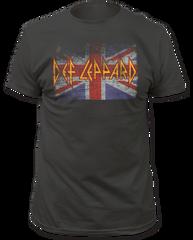 Def Leppard Union Jack Black Cotton Short Sleeve Adult T-shirt