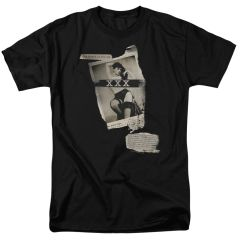 Bettie Page Newspaper and Lace Black Short Sleeve Adult T-shirt