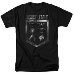 Justice League Shield of Emblems Black Short Sleeve Adult T-shirt
