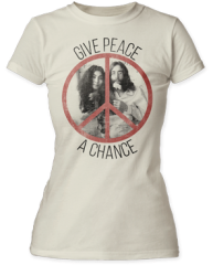 John Lennon Give Peace a Chance White Short Sleeve Junior T-shirt