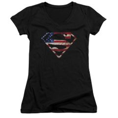 Superman Super Patriot Junior V-Neck T-shirt