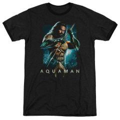 Aquaman Trident Black Short Sleeve Adult Ringer T-shirt