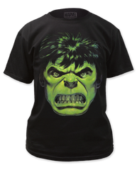 Incredible Hulk Angry Face Black Short Sleeve Adult T-shirt