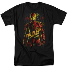 League of Justice The Flash Black Short Sleeve Adult T-shirt