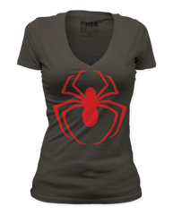Spiderman Red Logo V-Neck Junior T-shirt