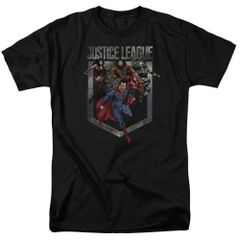 Justice League Charge Black Short Sleeve Adult T-shirt