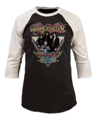 Aerosmith World Tour Black and White Adult Baseball Jersey T-shirt