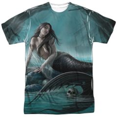 Annie Stokes Sirens Lament White Front and Back Print Short Sleeve Adult T-shirt