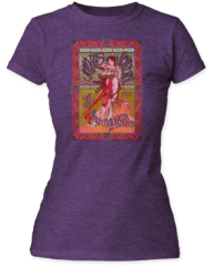 Janice Joplin Avalon Ballroom Heather Purple Short Sleeve Junior T-shirt