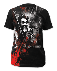 Army of Darkness Blood and Smoke Black Sublimation Print Short Sleeve Adult T-shirt