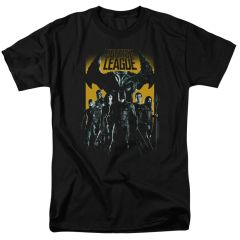 Justice League Stand Up to Evil Black Short Sleeve Adult T-shirt
