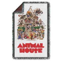 Animal House Poster Woven Throw Blanket