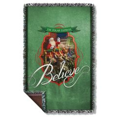 Christmas Polar Express Santa Woven Throw Blanket