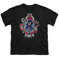 Teen Titans Go Raven Black Short Sleeve Youth T-shirt