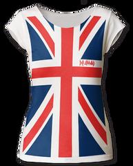 Def Leppard Full Print Union Jack White Cotton Sleeveless Womens T-shirt